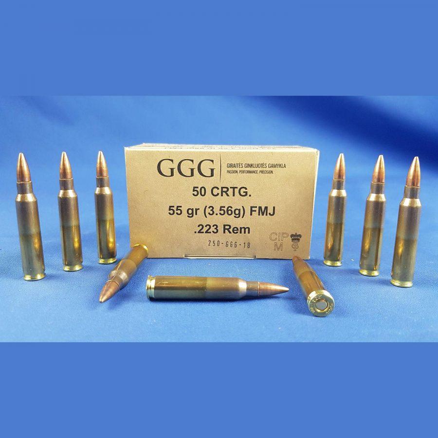 GGG 223 Rem. FMJ 55grs. 3.56g