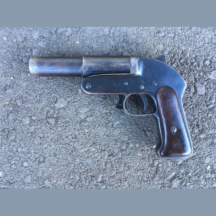 Einläufige Leuchtpistole Rumänisch WKII zweite Ausführung,Kal.4