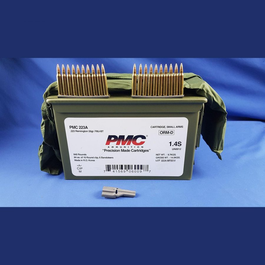 PMC 223Rem. 55grs 3,6g In Bandoleer mit Stripper clips + Lader in M2A1 Box