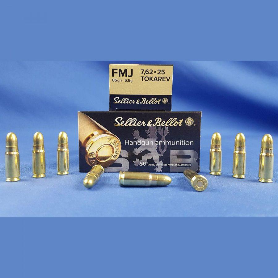 Sellier&Bellot 7,62x25mm Tokarev FMJ 85grs 5,5g