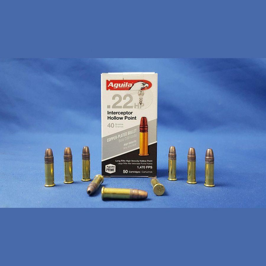 Aguila Interceptor HP .22lr Ammunition 40grs Hollow Point