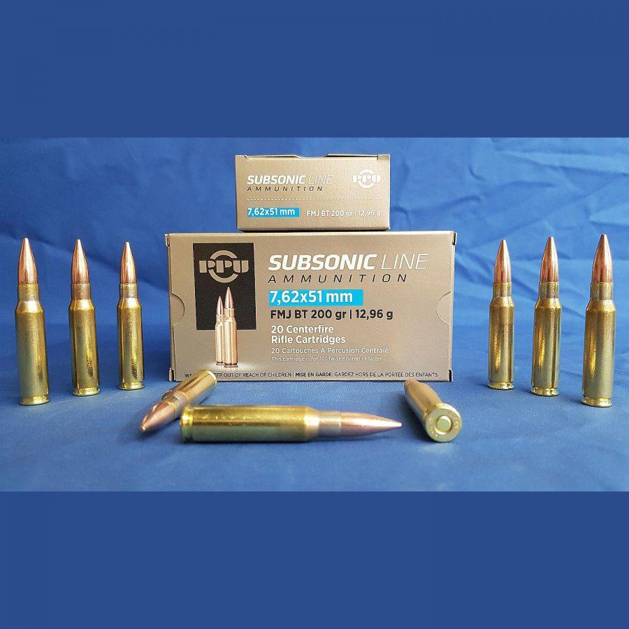 PPU 308Win (7,62x51mm) Subsonic FMJ 200grs 12,96g