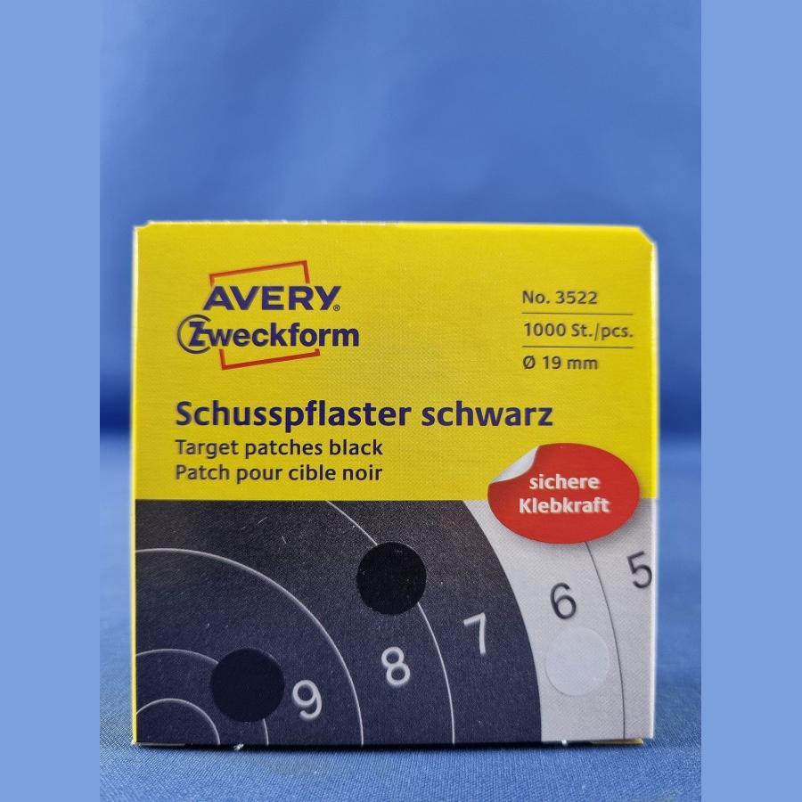 Zweckform Schusspflaster – 19 mm schwarz, 1000 Stück